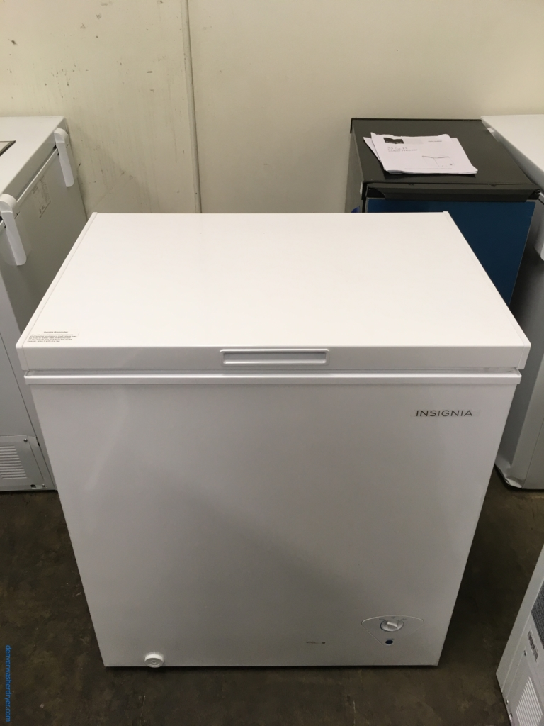 NEW! Insignia Chest Freezer, 5.0 Cu.Ft. Capacity, White, 29″ Wide, Defrost Drain, Power Light, LG Tromm Gray Washer And Dryer Set Pedestals, Quality Refurbished, 1-Year Warranty!