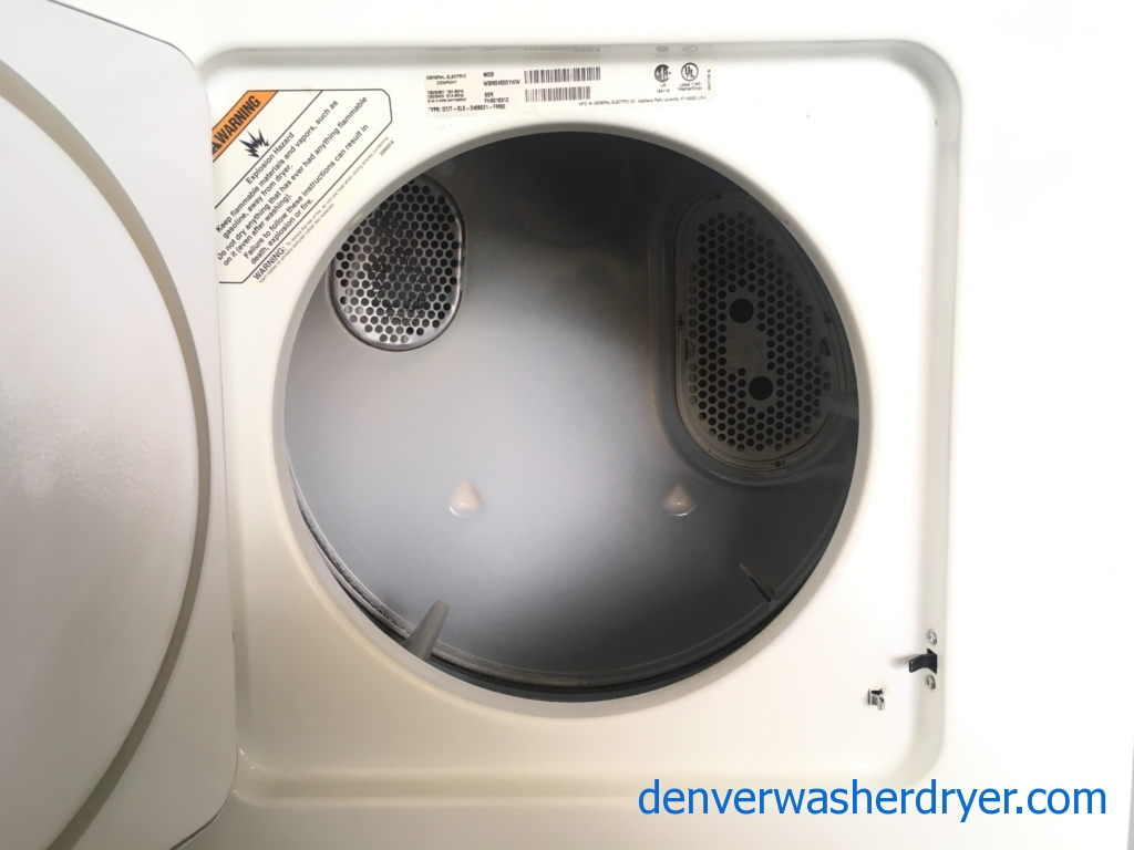 GE 24″ Wide Laundry Center, Agitator, Electric, De-Wrinkle, Automatic Dry, Quality Refurbished, 1-Year Warranty!