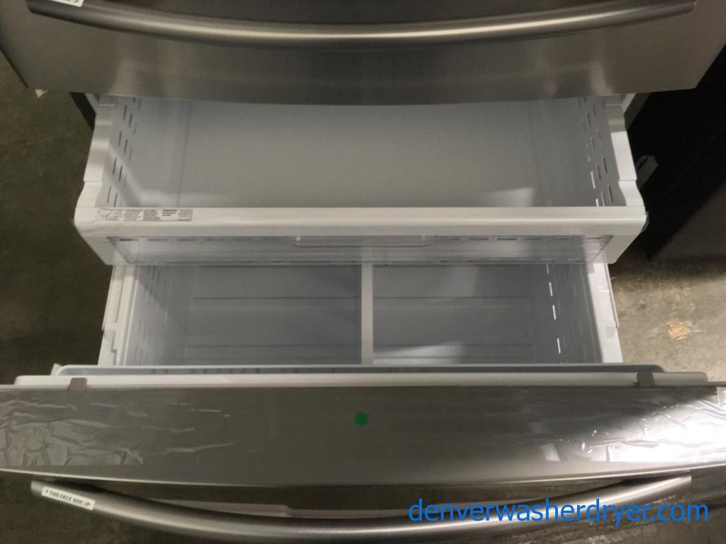 NEW! Scratch/Dent Stainless Samsung French-Door Refrigerator, FlexZone Drawer, 28.0 Cu.Ft. Capacity, 1-Year Warranty!