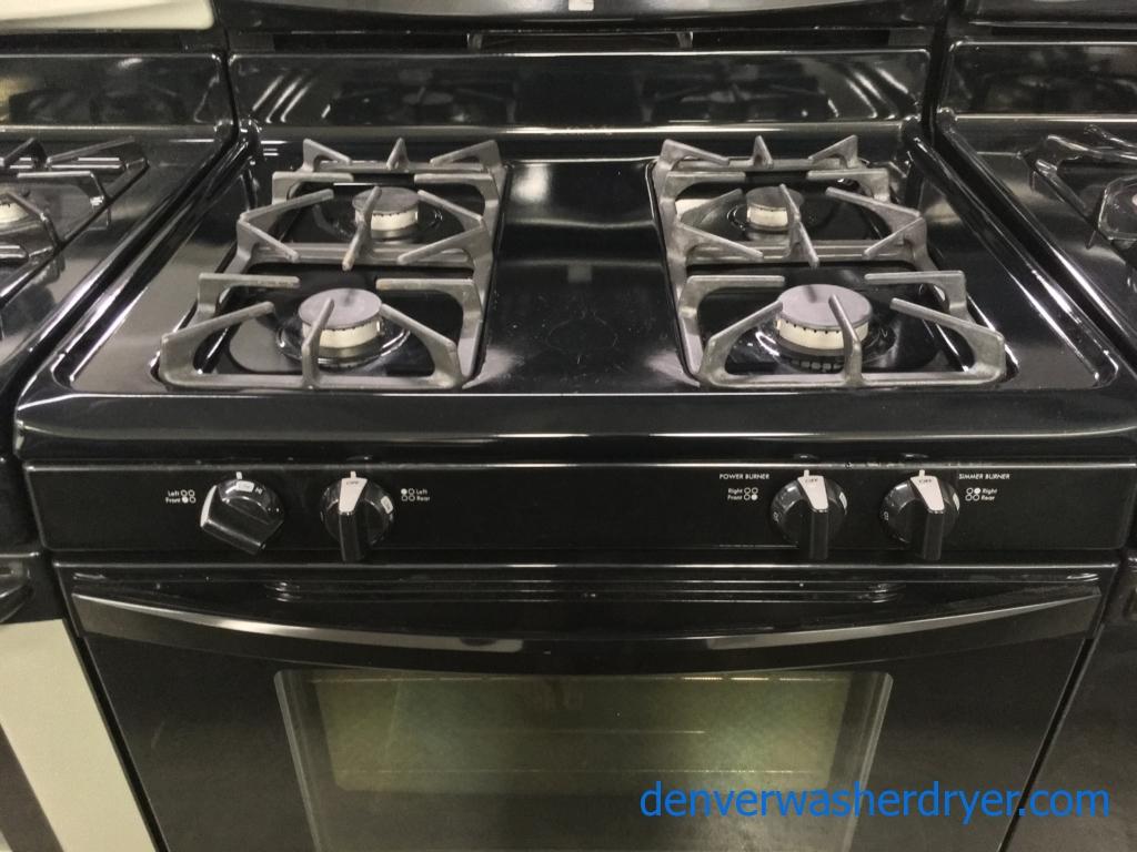 Free-Standing Kenmore Black GAS Range, 4 Burners, Self Cleaning, Quality Refurbished, 1-Year Warranty!