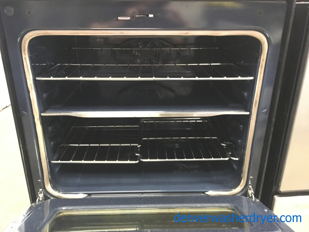 Beautiful Samsung Stainless Electric Range, NEW Samsung Stainless Steel French Door Refrigerator , 5 Burners, Warming Zone, Self/Steam Cleaning, Quality Refurbished, 1-Year Warranty!
