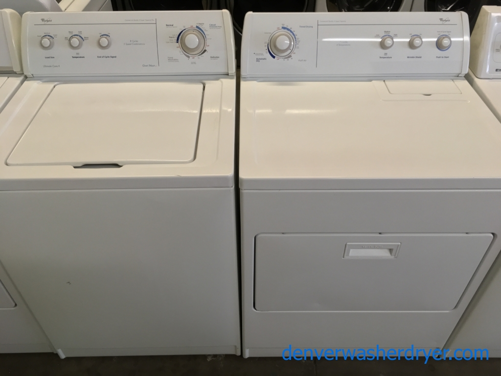 """Whirlpool Direct Drive """"Quiet Wash"""" Washer and Dryer, Agitator, Wrinkle Shield Option, Quality Refurbished 1-Year Warranty"""