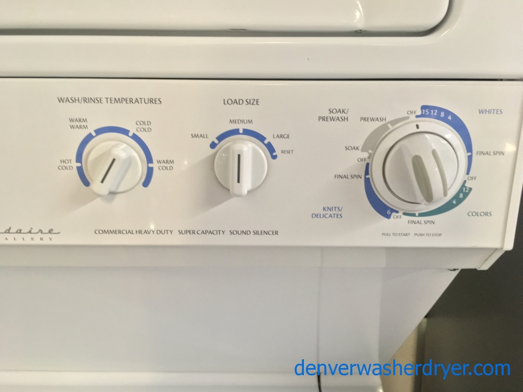 Frigidaire Unitized Washer and Dryer, 27″ Wide, Electric, Automatic Dry, Heavy-Duty, Agitator, Quality Refurbished, 1-Year Warranty!