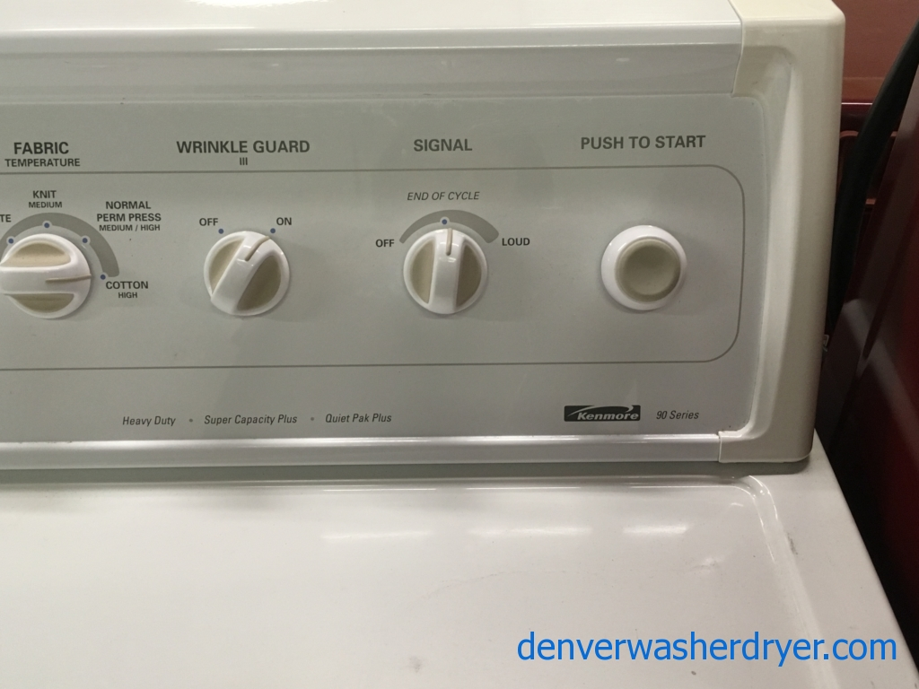 Kenmore Direct-Drive Washer and Dryer Set, Agitator, Extra-Rinse Option, Auto-Dry, Heavy-Duty, Wrinkle Guard Option, Quality Refurbished, 1-Year Warranty!