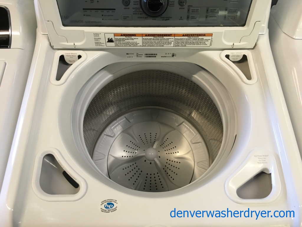Maytag Bravos Quiet Series 400 Washer and Dryer Set, Glass-Lids, HE, Sanitary and Wrinkle Control Cycles, StainBoost, Wrinkle Prevent Plus, Quality Refurbished, 1-Year Warranty!