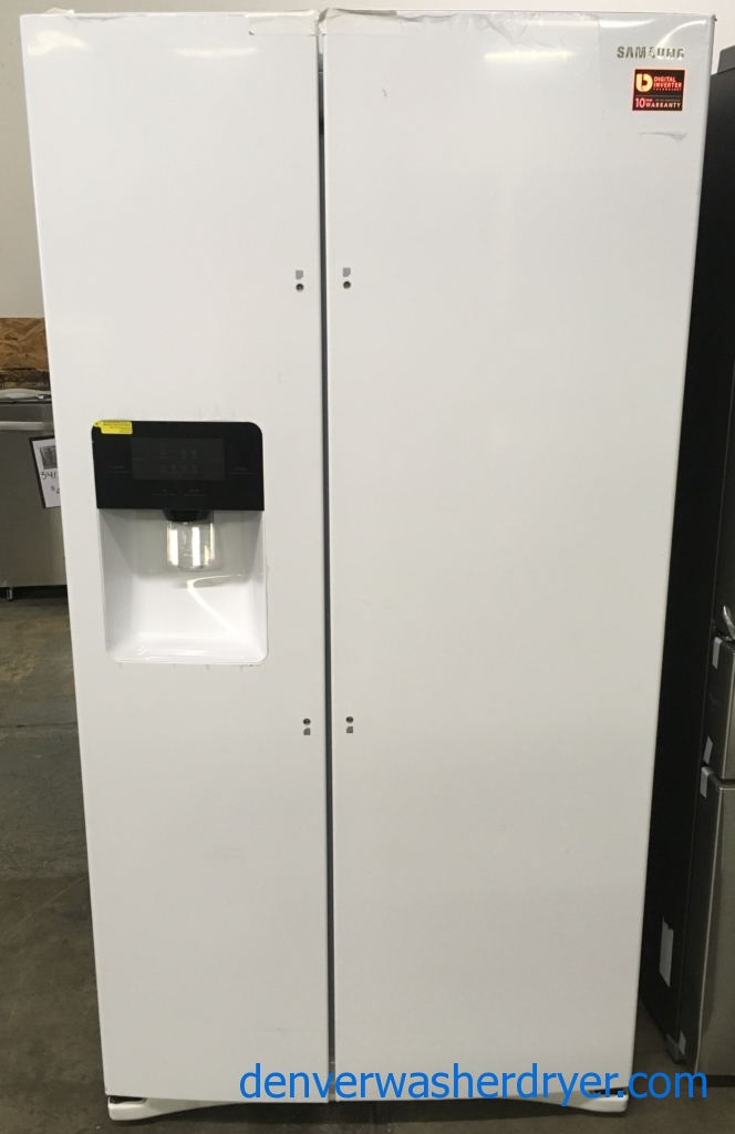 NEW! Scratch/Dent Samsung Side-by-Side Refrigerator, White, Ice/Water Dispenser, High Gloss Finish, 1-Year Warranty!